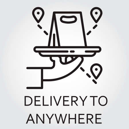 Black flat Line icon with a picture of delivery to anywhere