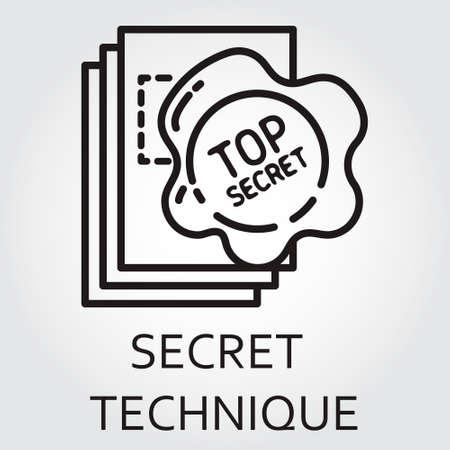 arcanum: Black flat line icon with a picture of top secret technique