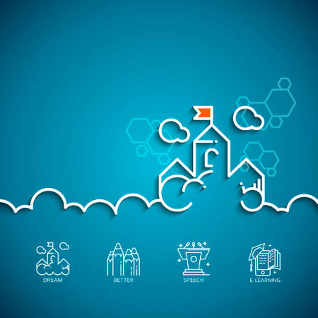 banner with a picture of white flat line symbol dream as cloud-castle on blue background.