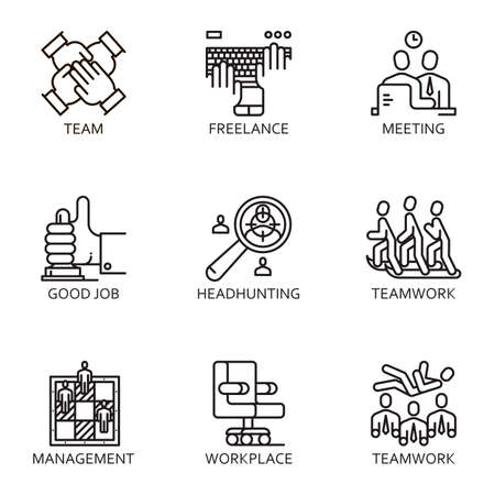 conducting: Black flat line set icon with a picture of a symbol business process and conducting business on white background. Illustration