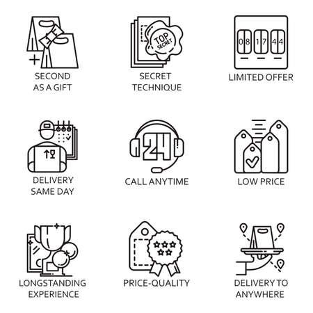 remuneraciones: l�nea plana negro conjunto de iconos con una foto de un proceso de negocio s�mbolo y la realizaci�n de negocios en el fondo blanco.