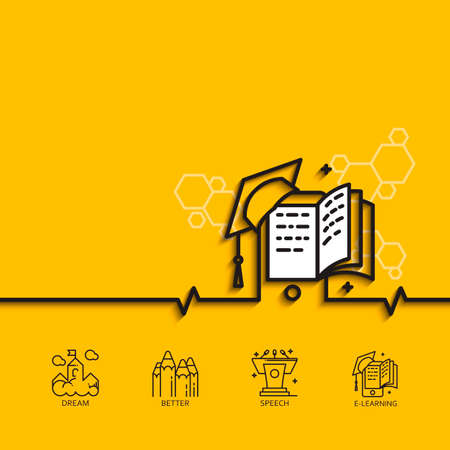 formation: banner with a picture of e-learning as square academic cap book monitor  on yellow background. Illustration