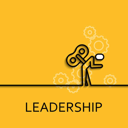 leadership key: Vector business illustration in linear style with a picture of leadership as key man on yellow background poster or banner template. Illustration