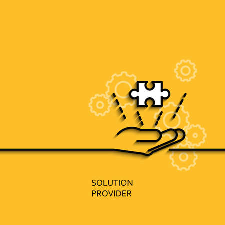 biz: Vector business illustration in linear style with a picture of solution provider as hand giving puzzle on yellow background poster or banner template. Illustration