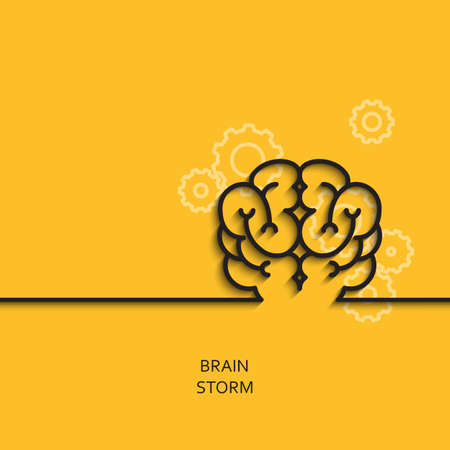 Vector business illustration in linear style with a picture of brainstorm as brain on yellow background poster or banner template.
