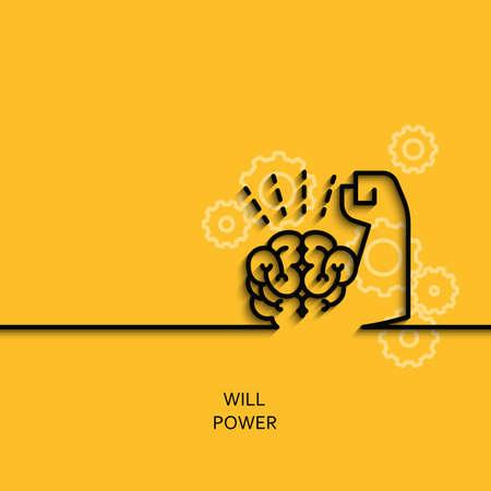 Vector business illustratie in lineaire stijl met een foto van wilskracht als de hersenen en spieren hand op de gele achtergrond poster of banner sjabloon.