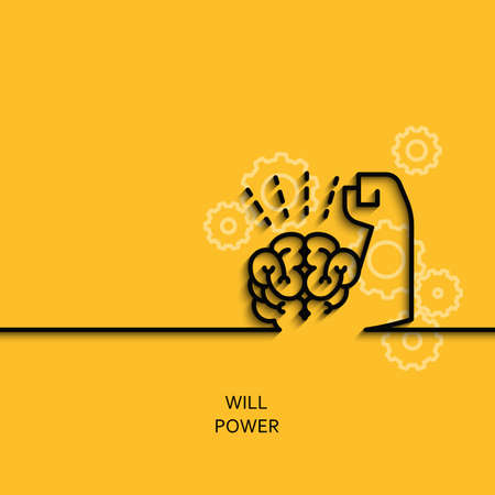 Vector business illustration in linear style with a picture of willpower as brain and muscle hand on yellow background poster or banner template. Vettoriali