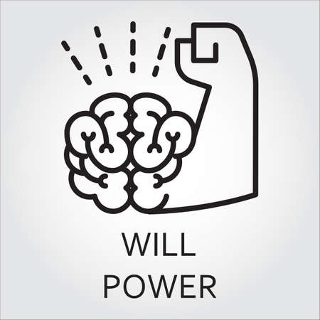 Black flat line vector icon with a picture of willpower as brain and muscle hand. 矢量图像