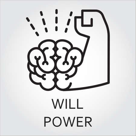 Zwarte vlakke lijn vector pictogram met een foto van wilskracht als de hersenen en spieren de hand.