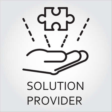 Black flat line vector icon with a picture of solution provider as hand giving puzzle.