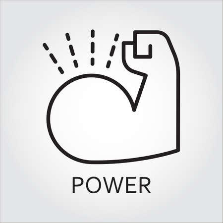 Zwarte vlakke lijn vector icoon met een beeld van macht als spier hand op een witte achtergrond.