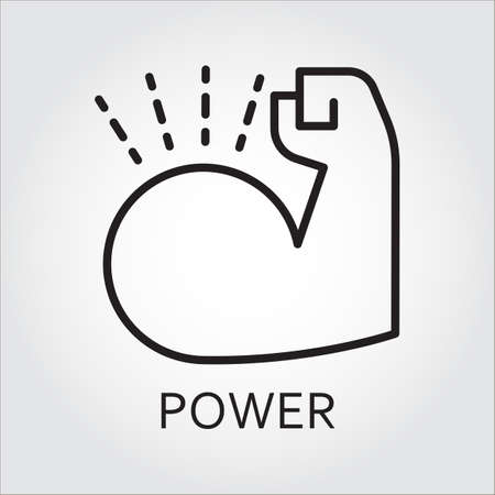durability: Black flat line vector icon with a picture of power as muscle hand on white background. Illustration