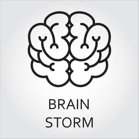 Black flat line vector icon with a picture of brainstorm as brain on white background. Illustration