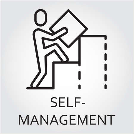 Black flat line vector icon with a picture of self-management as man builds a graph on white background. Illustration