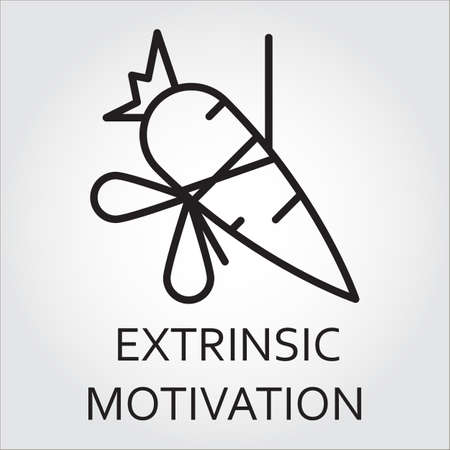 urge: Black flat line vector icon with a picture of extrinsic motivation as carrot on a rope on white background.