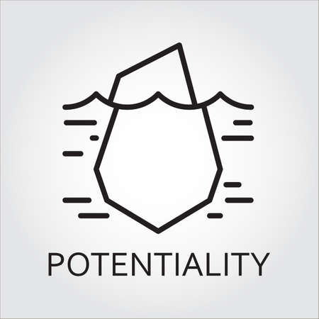 potential: Black flat line vector icon with a picture of hidden potential and opportunity as iceberg on white background. Stock Photo