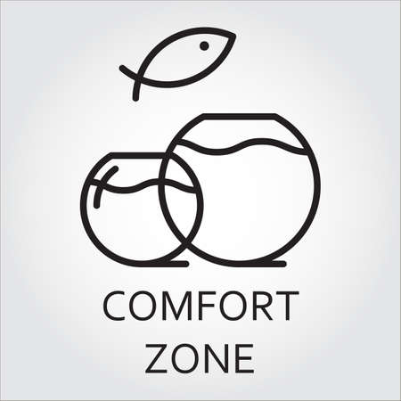 Black flat line vector icon with a picture of comfort zone as aquarium on white background.