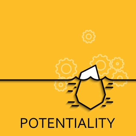 potential: Vector business illustration in linear style with a picture of hidden potential and opportunity as iceberg on yellow background poster or banner template.