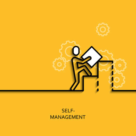 presumptuous: Vector business illustration in linear style with a picture of self-management as man builds a graph on yellow background poster or banner template.