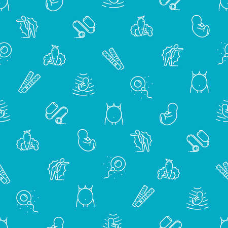 Vector medical seamless pattern with icons and signs in linear style, components of the stages pregnancy, tips for pregnant women on blue background poster or banner template.