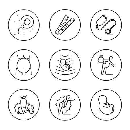 Outline symbol collection. Black line icons in the circle set of stages pregnancy tips for pregnant women. Stroke vector logo concept medical consultation for web graphics. Mono linear pictogram pack.