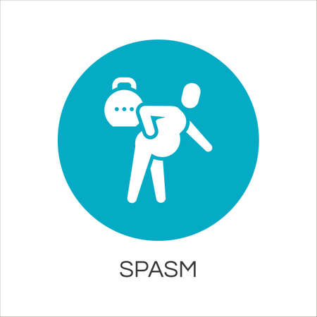 spasm: Flat simplicity icon of person with spasm in pain. Delivery care concept. Blue round  for websites, mobile apps and other design needs. Vector contour pictograph