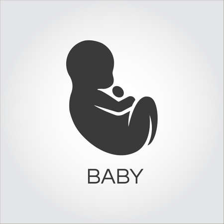 donating: Baby icon drawn in flat style. Simple mono black silhouette of newborn concept. Logo for websites, mobile apps and other design needs. Vector contour graphics