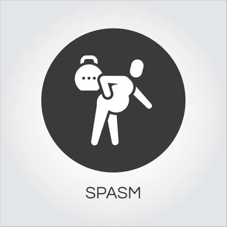 spasm: Flat simplicity icon of person with spasm in pain. Delivery care concept. Black round logo for websites, mobile apps and other design needs. Vector contour pictograph