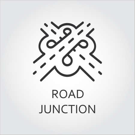 道路のジャンクション、アウトラインのスタイルのアイコンのラベル。インターチェンジ構想。記号アウトライン スタイルで描画されます。