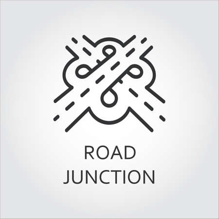 Label of road junction, icon in outline style. Transport interchange concept. Sign drawn in outline style.