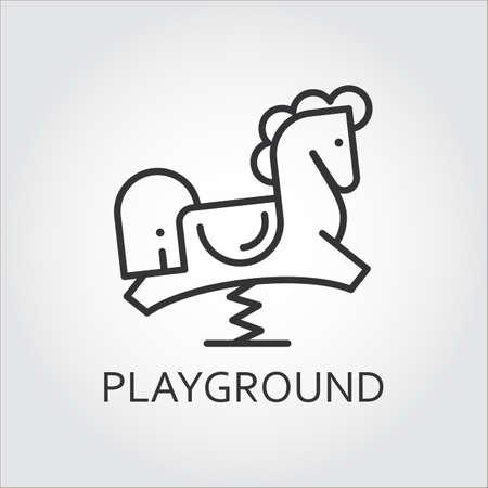 Linie Einfachheit Symbol der Kinder Pferd in Umrissen gezeichnet worden zu schaukeln. Spielplatz-Konzept. Vektorgrafik