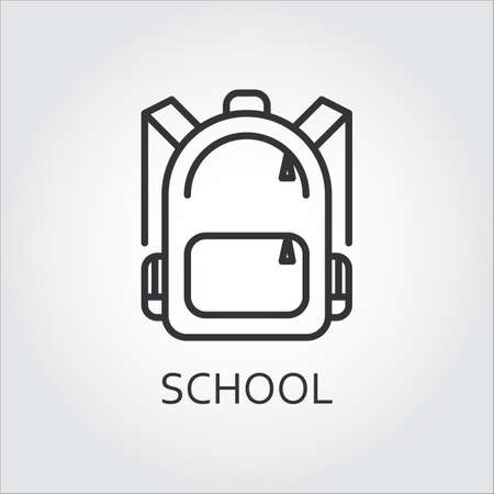 Icon school bag drawn in outline style on gray background. Vector Illustration