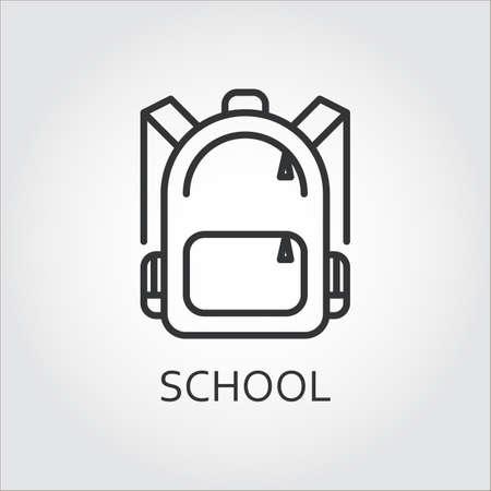 Icon Schultasche in Umrissen Stil auf grauem Hintergrund gezeichnet. Vektorgrafik