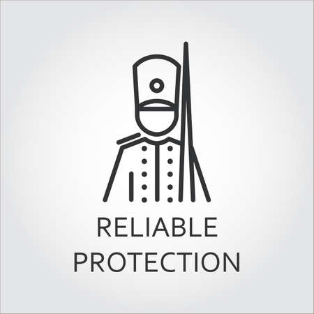 reliable: Icon with simple silhouette of soldier drawn in outline style. Reliable protection concept. Simple mono black line label. Illustration