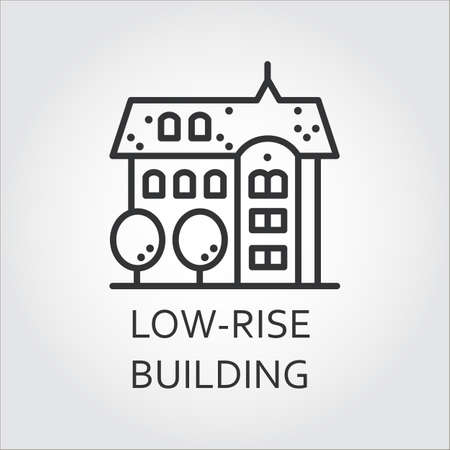 mansard: Low-rise building icon drawn in outline style. Concept of advertising purchase and rental of private housing. Image for websites, mobile apps and other design needs.