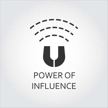 magnetization: Label of power of influence. Magnet, magnetizing. Simple black icon. Logo drawn in flat style. Black shape pictograph for your design needs. Vector contour silhouette on white background.