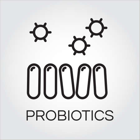intestinal flora: Line icon of abstract probiotics symbol in outline style. Delivery care concept.