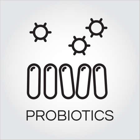 Line icoon van abstracte probiotica symbool in schets stijl. Levering zorgconcept. Stock Illustratie