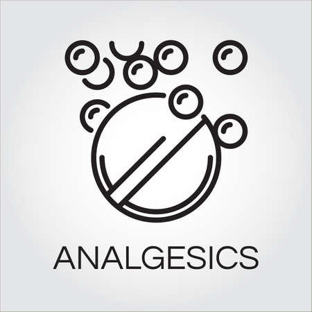 analgesics: Symbol of analgesic in abstract linear drawn in outline style. Simple line pictograph. Delivery care concept.