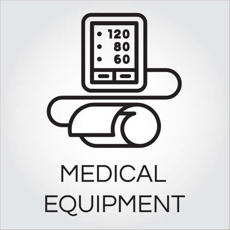 outpatient: Contour icon of medical automatic tonometer for blood pressure measuring. Black pictograph of medical equipment.