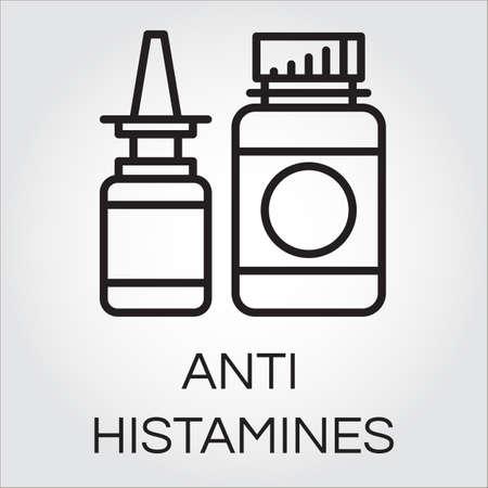 medical bottles: Two medical bottles antihistamines. Icon in outline style. Label of medicine. Illustration