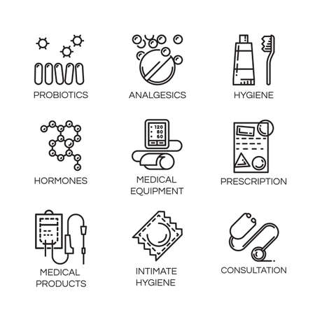 arterial: Set of nine icons in outline style. Medical care, health and hygiene concept.