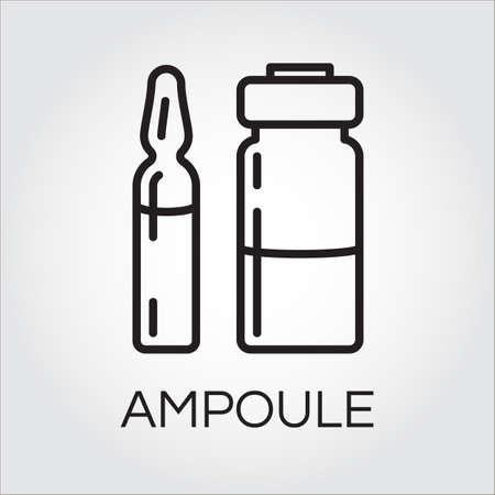 ampoule: Medical ampoule for drugs or vaccine in outline style. Black simplicity icon. Delivery care concept.