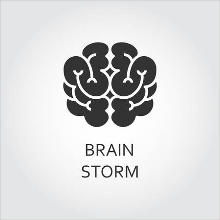 Shape simplicity icon of brain drawn in flat style. Brainstorm concept. Illustration