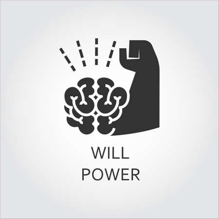 Label of willpower, self-control as brain and muscle hand. Simple black icon.