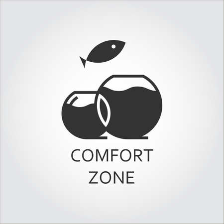 jumping fish: Label of comfort zone as aquarium and jumping fish. Simple black icon. Illustration