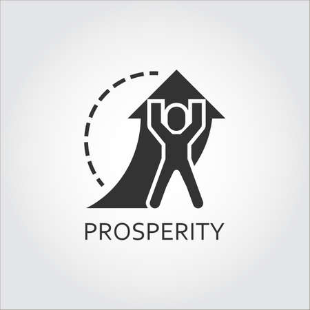 Label of prosperity and promotion as man lifts arrow. Simple black icon.