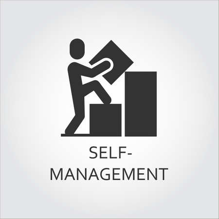 presumptuous: Label of self-management as man builds a graph and goes to top.