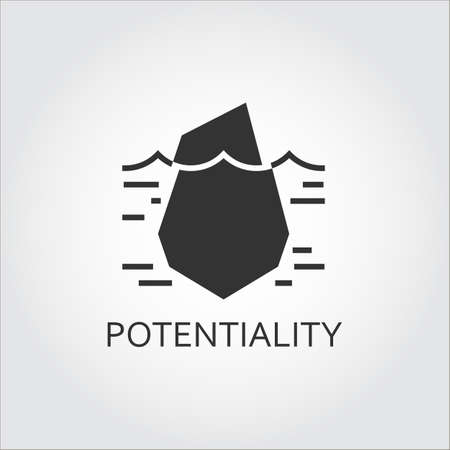 implicit: Label of hidden potential and opportunity as iceberg. Simple black icon. Illustration