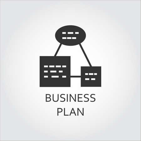 Business plan or algorithm of action, as scheme list. Simple black icon. Vettoriali